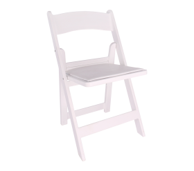 Chair, White Resin Folding Chair with Padded Seat