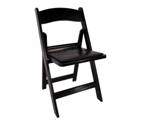 Chair, Black Resin Folding Chair with Padded Seat