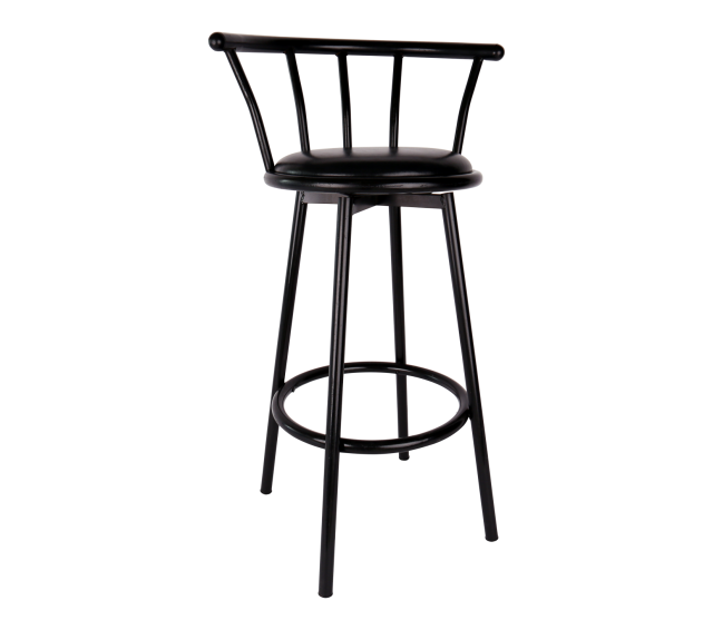 Bar Stool, Black with Padded Seat and Back
