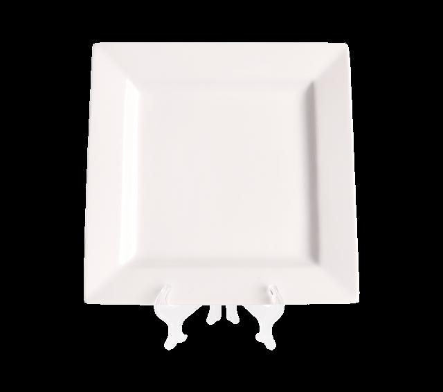 """White Square, Dinner Plate 10"""""""