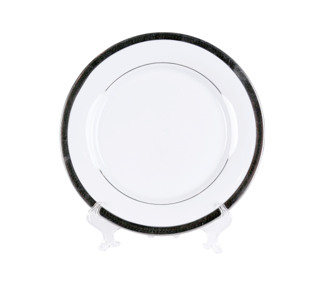 White with Grand Silver China, Dinner Plate 10""