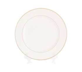 White with Gold Border, Chop Plate 12""