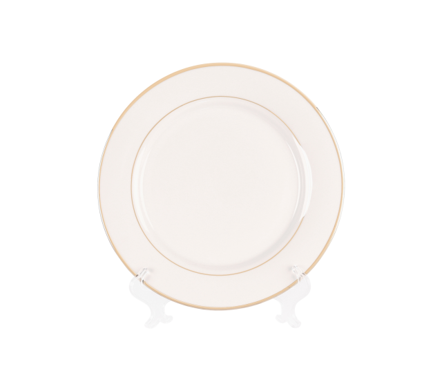 White with Gold Border, Dinner Plate 10""