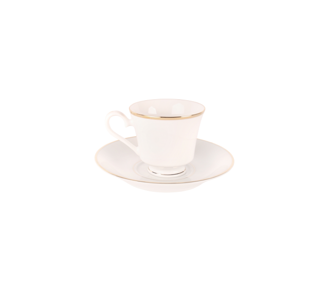 White with Gold Border, Saucer