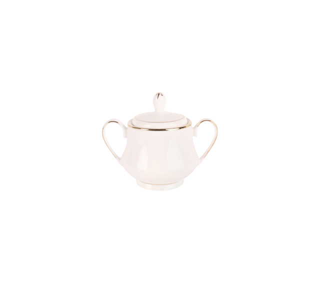 White with Gold Border, Sugar Bowl