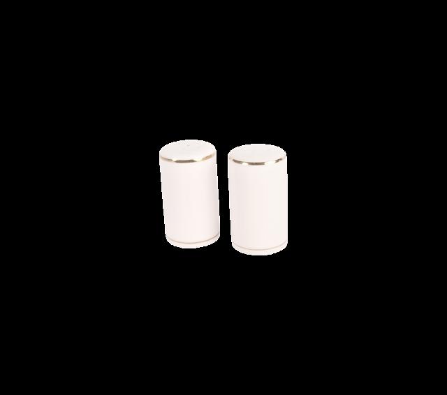 White with Gold Border, Salt & Pepper