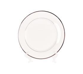 "White and Silver China, 10"" Dinner Plate"