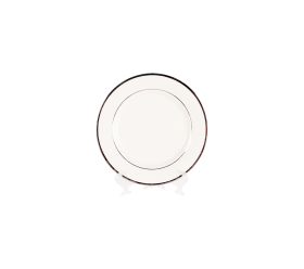 "White and Silver China, 8"" Salad/Dessert Plate"