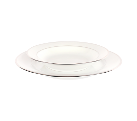 "White and Silver China, 8"" Soup Plate"