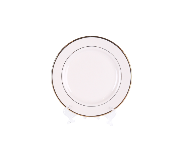 "Ivory with Gold Border, 8"" Salad/Dessert Plate"