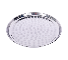 """Tray Round Polished Stainless 14"""""""