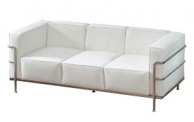 6' White Sofa with Chrome Frame