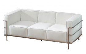 6' White Sofa with Chrome Frame
