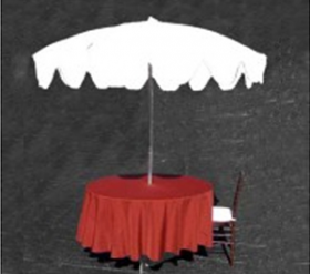 7' White Umbrella with Table Base