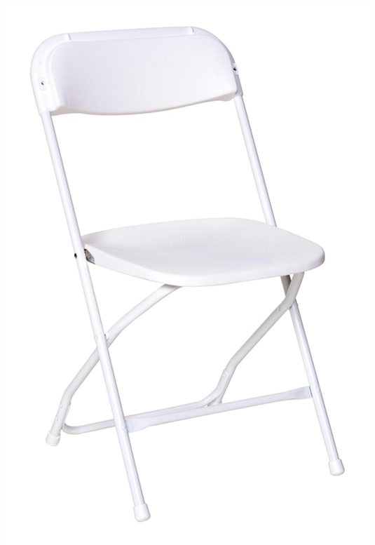 Chair, White Plastic Folding